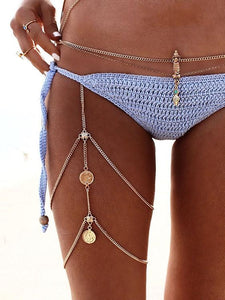 Vintage Sexy multi-layer Coin Leg Chain