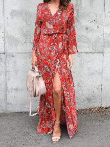 Bohemian Floral Long Sleeve V-neck Chiffon Long Dress