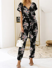 Load image into Gallery viewer, Vintage Floral Boho V-neck Short Sleeve Casual Jumpsuit