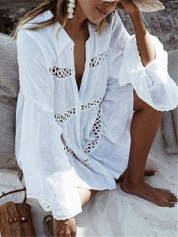 Lace Hollow Beach Summer Ladies Bikini Cover Up Tops