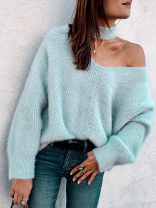 Sexy Off The Shoulder Imitation Mane Loose Lazy Sweater