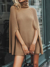 Load image into Gallery viewer, Knitted turtleneck Women Camel casual pullover Autumn Sweater