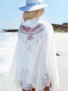 Eagle Printed Beach Chiffon Lace Stitch Large Size Holiday Cardigan