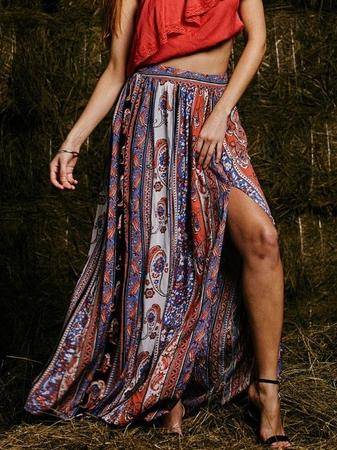 Womens Gypsy Boho Beach Tribal Floral Skirt
