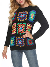 Load image into Gallery viewer, Boho Handmade Square Pattern Knit Stiching Sweater