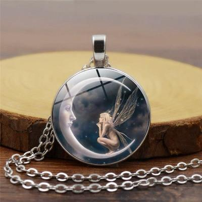 Moon Angel time necklace retro alloy pendant necklace sweater chain ornaments