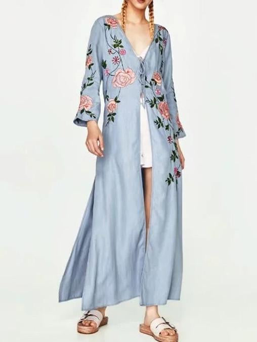 National Style Inwrought Floral-Print Long Short Sleeve V Neck Lace-Up Maxi Dress