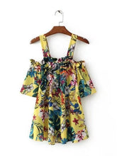 Load image into Gallery viewer, Popular Fashion Floral-Print Chiffon Off Shoulder Strapps Blouse Shirts Tops