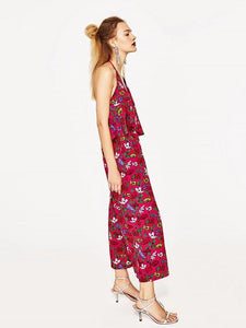 Sexy Floral-Print Off-Shoulder Deep V Neck Strape Jumpsuits
