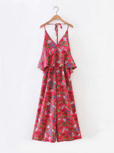 Load image into Gallery viewer, Sexy Floral-Print Off-Shoulder Deep V Neck Strape Jumpsuits