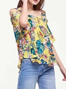 Popular Fashion Floral-Print Chiffon Off Shoulder Strapps Blouse Shirts Tops