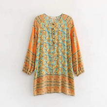 Load image into Gallery viewer, Boho V Neck Loose Long Sleeve Cotton Mini Dress