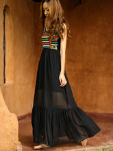 Load image into Gallery viewer, Bohemian Embroidery Slim Chiffon Beach Maxi Dress