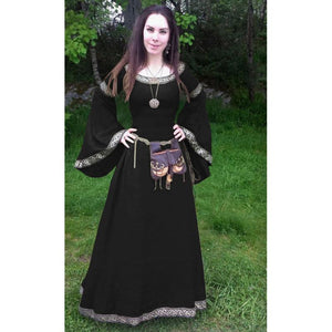 Halloween Round Neck Flared Sleeve waist Medieval Large Size Long Dress