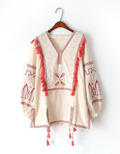Load image into Gallery viewer, Autumn linen Retro Folk Embroidery Tassle Long Sleeve Blouse Top