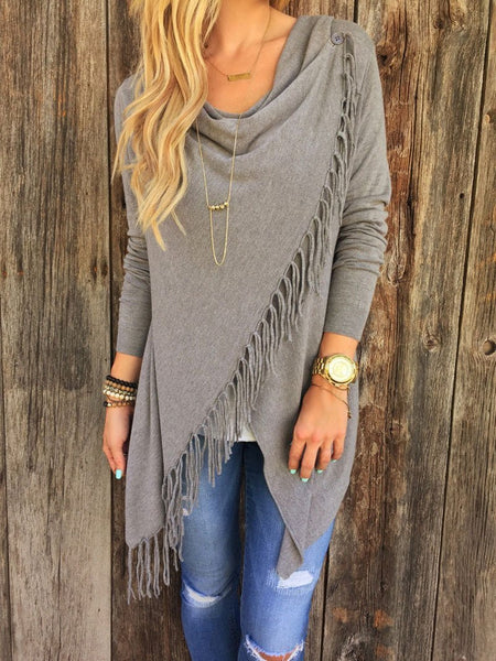 Classic Tassel Slash Sweater Top