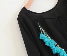 Load image into Gallery viewer, Bohemian Beach Loose Tassel Mini Dress
