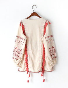Autumn linen Retro Folk Embroidery Tassle Long Sleeve Blouse Top