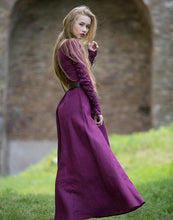 Load image into Gallery viewer, Halloween Solid Color Long Sleeve Straps Round Neck Medieval Retro Dress