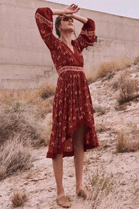 Retro Vacation Big Hem Bohemian Floral Midi Dress