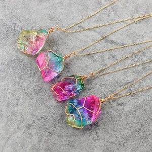 Natural Rough Crystal Pendant Transparent Multi-color Chain Necklace