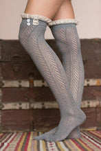 Load image into Gallery viewer, Button Lace Stockings Diamond Over The Knee Long Socks