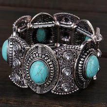 Load image into Gallery viewer, Vintage Ethnic Style Alloy Plated Ancient Silver Turquoise Bracelet