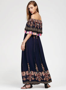 Women s Fashion Boho Floral off Shoulder Maxi Dress