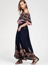Load image into Gallery viewer, Women s Fashion Boho Floral off Shoulder Maxi Dress