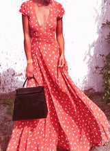Load image into Gallery viewer, Women s Boho Polka Dots Deep V Neck Short Sleeve Maxi Dress