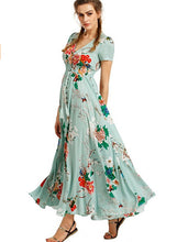 Load image into Gallery viewer, Women s Boho V Neck High Waist Slit Floral Maxi Dress