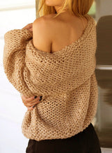 Load image into Gallery viewer, Elegant Slash Neck Off Shoulder Long Sleeve Solid Color Sweater