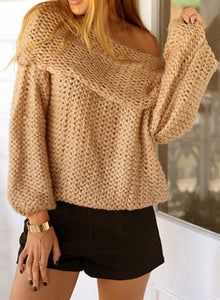 Elegant Slash Neck Off Shoulder Long Sleeve Solid Color Sweater