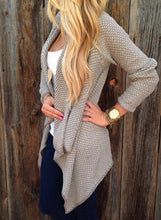 Load image into Gallery viewer, Women s Long Sleeve Draped Open Front Asymmetrical Knitted Cardigan