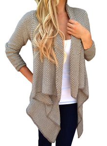 Women s Long Sleeve Draped Open Front Asymmetrical Knitted Cardigan