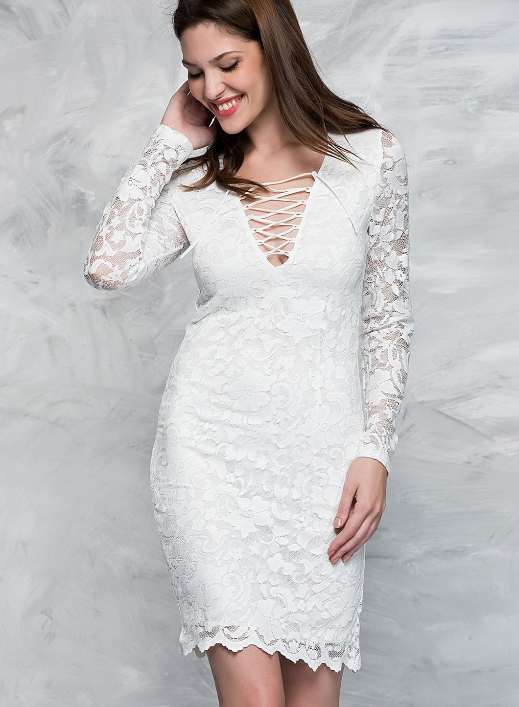 Long Sleeve V Neck Lace Bodycon Dress