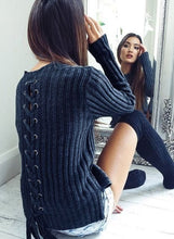 Load image into Gallery viewer, Solid Long Sleeve Back Lace up Sweater