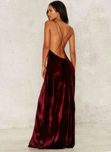 Load image into Gallery viewer, Women s Loose Sleeveless V Neck Backless Velvet Prom Evening Dress