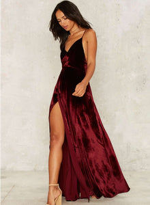 Women s Loose Sleeveless V Neck Backless Velvet Prom Evening Dress