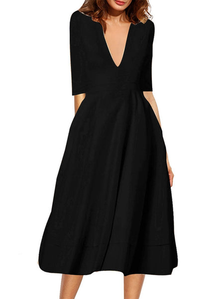 A-Line V Neck Half Sleeve Midi Party Dress