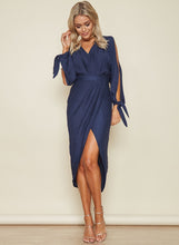 Load image into Gallery viewer, Women s V Neck Long Sleeve Asymmetric Midi Dresses