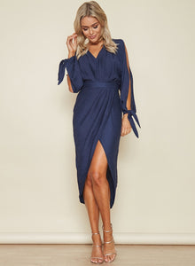 Women s V Neck Long Sleeve Asymmetric Midi Dresses