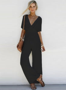 Women s Fashion V Neck Short Sleeve Solid Wide Leg Jumpsuit