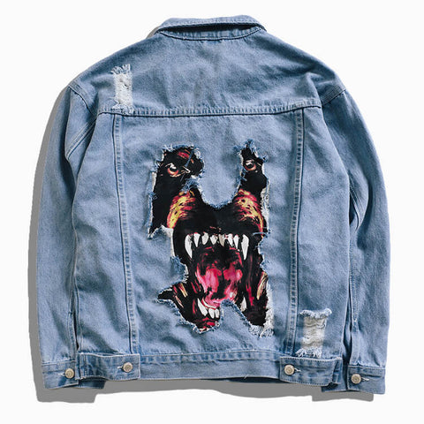 Distressed Dog Print Denim Jacket