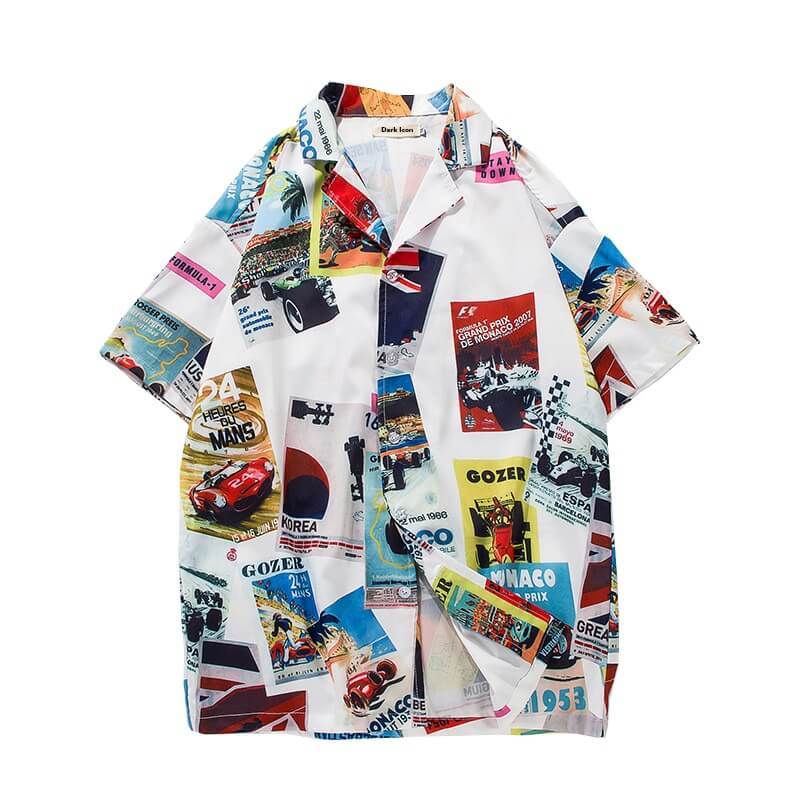 Race Print Button Up