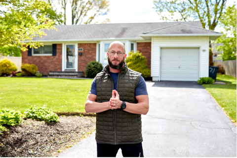 Mr. Sulam outside his home in Commack, N.Y. As of mid-May, all but one of his clients had continued training with him on a virutal basis. Credit...Stephen Speranza for The New York Times