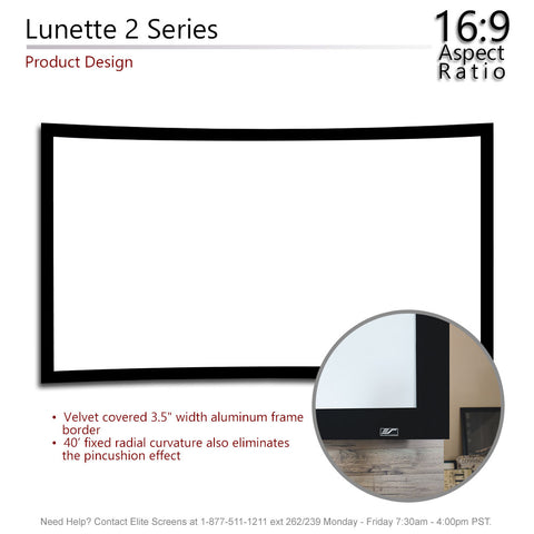 "Elite Screens Curved Lunette 2 Home Theater Projector Screen 4K 110"" 16:9"