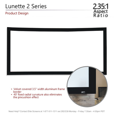 "Elite Screens Curved Lunette 2 Home Theater Projector Screen 4K 115"" 2:35:1"