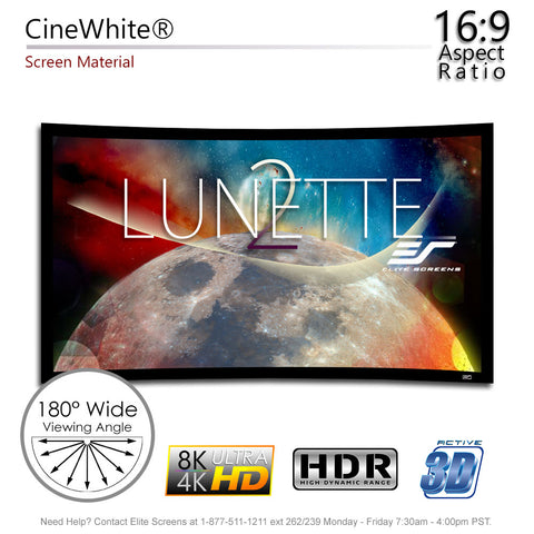 "Elite Screens Curved Lunette 2 Home Theater Projector Screen 4K 100"" 16:9"