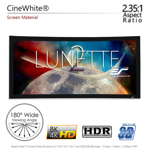 "Elite Screens Curved Lunette 2 Home Theater Projector Screen 4K 125"" 2:35:1"